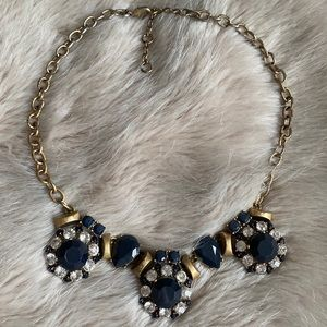 J. Crew Navy Blue Crystal Statement Necklace
